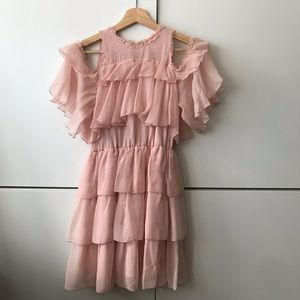 Alice + Olivia pink silk ruffle dress size 0